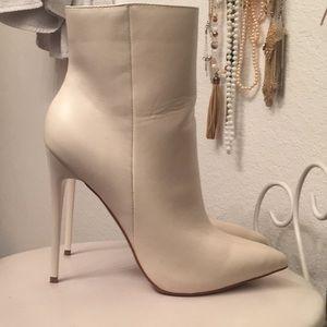 White Stiletto Booties